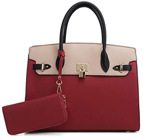 DELUXITY Women's Designer Top Handle Satchel Handbag Tote Bag Briefcase 2pc set | Red/Beige