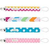 Itaar Pacifier Clip 4 Pack Universal Cotton Pacifier Leashes Teething Ring Holder Set- Polka Dots & Stripes Design for Baby Boys and Girls