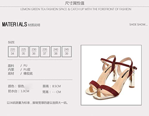 Heel Buckle Toe Sandals Summer Toe One Temperament Square SFSYDDY High Shoes Rough 9Cm Word gules Small Fresh E7wgq4R