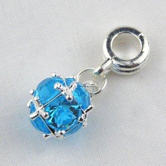 Universal March Birthstone Charm Turquoise Rhinestone
