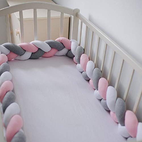 Baby Crib Bumper Plush Nursery Cradle Decor Knotted Braided Junior Bed Sleep Safety Bedside Padded Plush Cushion for Newborn Gray White Pink 157 inch