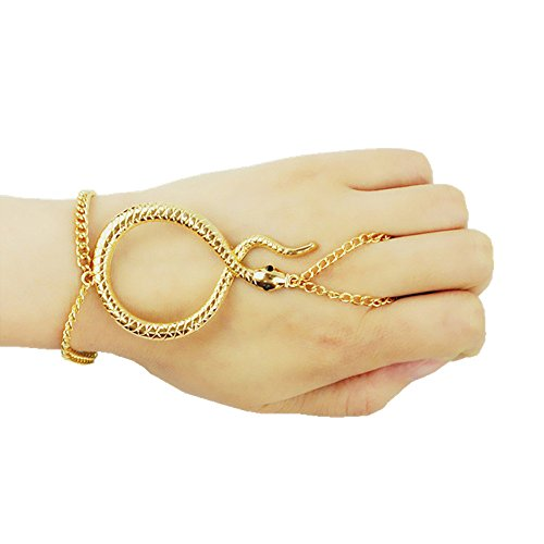 MIUNIKO Women Unique Snake Adjustable Finger Slave Ring Hand Chain Bracelet Wrist Jewelry Accessories (Gold)]()