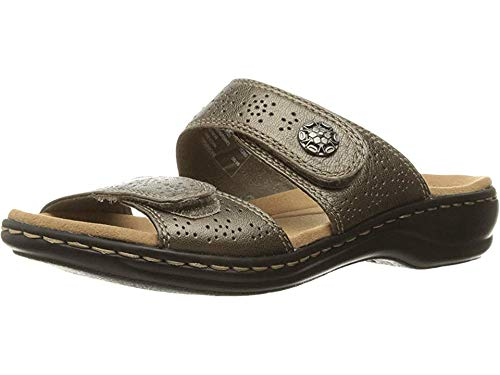CLARKS Women's Leisa Lacole Slide Sandal, Pewter Metallic Leather, 8 W US