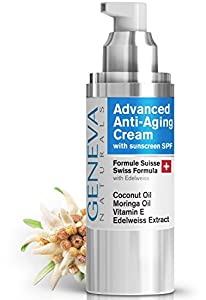 Face Moisturizer with SPF - Anti-Aging Formula with Hyaluronic Acid, Coconut Oil, Vitamin E & Moringa Oil - Facial Sunscreen & Fine Line Reducer - Age Defying Organic Cream - For Men & Women - 1oz