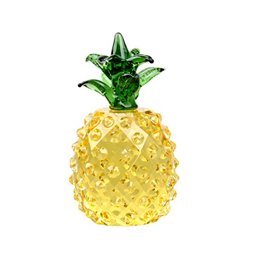 LONGWIN Glass Pineapple Figurine Paperweight Optinal Crystal Prism Pineapple Tabletop Centerpiece