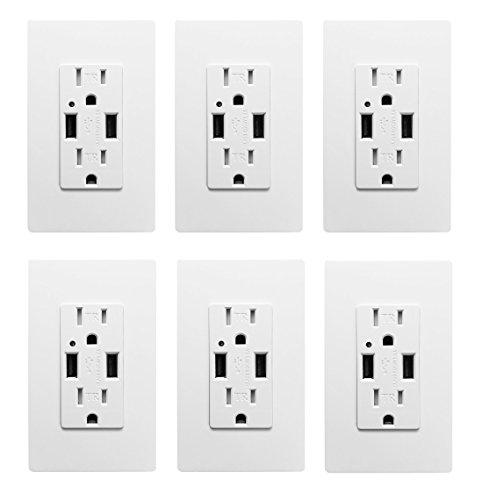 (USB Outlet, High Speed Charger 4.2A Charging Capability, Child Proof Safety Duplex Receptacle 15 Amp, Tamper Resistant Wall socket plate Included UL Listed MICMI U24 (4.2A USB outlet 6pack))