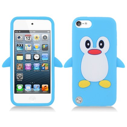iPod Touch 5th and 6th Generation Case, Soft Rubber Silicone Gel Jelly Cover by MEGATRONIC - Penguin/Light Baby Blue [With FREE Stylus Pen + Anti Scratch Clear LCD Screen Protector + Microfiber Cleaning Cloth] (Ipod 5 Jelly Silicone Cases compare prices)