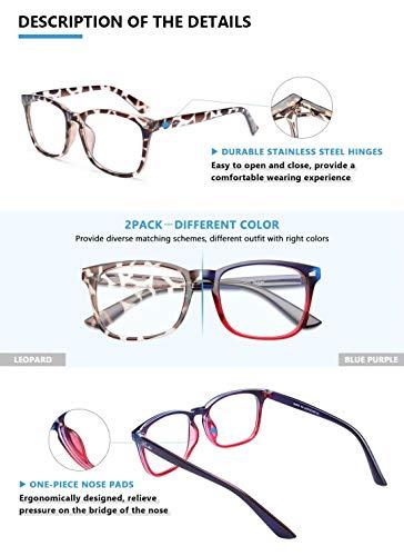 livho 2 Pack Blue Light Blocking Glasses, Computer Reading/Gaming/TV/Phones Glasses for Women Men,Anti Eyestrain & UV Glare (Leopord+Blue Purple)