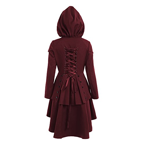 CharMma Women's Casual Single Breasted High Low Hem Lace Up Layered Hooded Coat (XL, Wine Red)