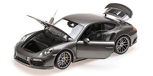 Minichamps 2016 Porsche 911 Turbo S Grey Metallic Limited Edition to 504 Pieces Worldwide 1/18 Diecast Model Car 110067121 -
