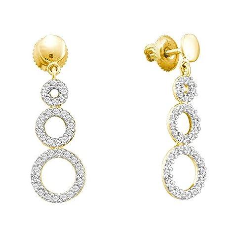 Diamond Earrings 14kt Yellow Gold Triple Circle Screwback Dangle 3/8 Cttw (i2/i3, i/j) - Diamond Triple Circle Earrings
