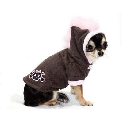 Big Dog Skull Mohawk Dog Hoodie in Pink Size: Extra Small by Hip Doggie