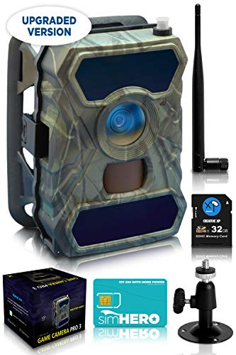 CreativeXP 3G Cellular Trail Cameras - AT&T WiFi Full HD Wild Game Camera with Night Vision for Deer Hunting