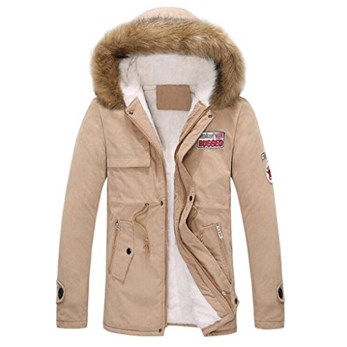 HTHJSCO Men Faux Fur Hooded Cotton Padded Parka Outerwear and Coats, Autumn Winter Jacket Men Hooded Coat Blouse (Khaki, XXXXL) by HTHJSCO