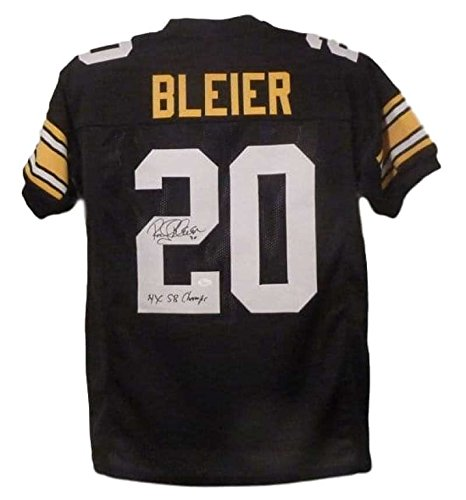 379983160 Rocky Bleier Autographed Pittsburgh Steelers Black XL Jersey 4x Champs JSA