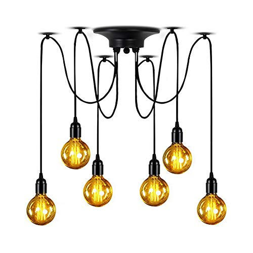 Lampundit Ceiling Light 6-Lights Pendant Ajustable DIY Spider Light Hanging Kitchen Farmhouse Industrial Lighting Fixture(Each with 5.9ft - Six Light Pendant Ceiling Halogen