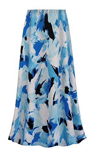 Sanctuarie Designs Blue Flower Splash Slinky Print Plus Size A-Line Skirt (Splash Print Skirt)