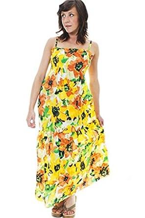 57febdfe74d7 Lora Dora Womens 100% Cotton Floral Maxi Full Length Stretch Summer Dress  Ladies Orange One Size UK 8-14: Amazon.co.uk: Clothing