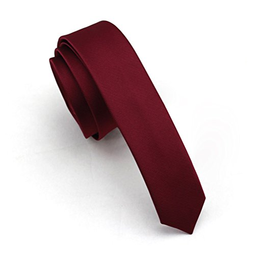 Elviros Mens Solid Color Eco-friendly Fashion Skinny Tie 1.6'' (4cm) Wine ()