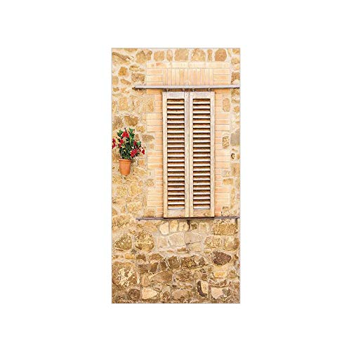 3D Decorative Film Privacy Window Film No Glue,Tuscan,Rustic Stone House and Window Shutters Flower Pot on Wall Italian Country Home Theme,Beige,for Home&Office