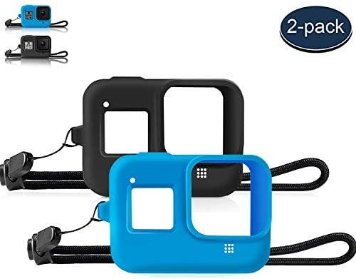MWOOT Kompatibel mit GoPro Hero 8 Black Action Camera Schutzhülle für Gehäuse Schutz [2 Stück], Stoßfest Silikone Hülle Bumper für GoPro Hero 8 Black Schutz Zubehör, Case Protector [Blau/Schwarz]