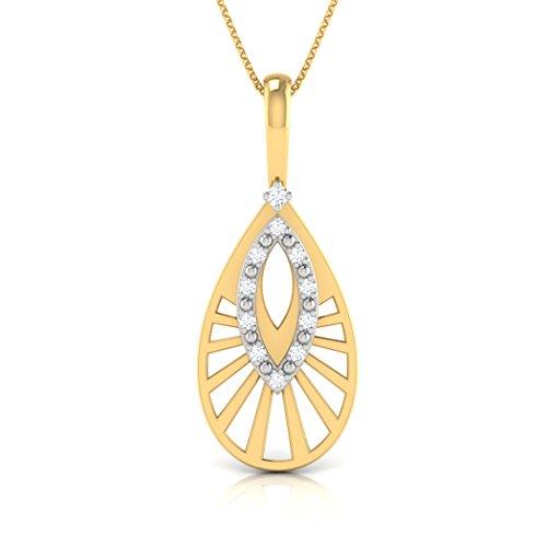 18K Or Blanc 0,06CT TW Round-cut-diamond (IJ | SI) Pendentif
