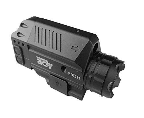 Ade Advanced Optics HG62-1 Strobe Green Laser Flashlight Sight for Pistol Handgun, Black