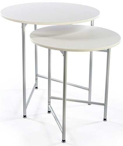 (Displays2go Set of 2 Folding Portable Tables, 1 Small, 1 Large, Round Lightweight PVC Plastic, Aluminum)