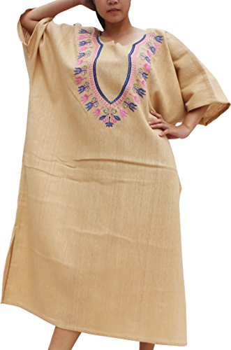 Thai Embroidered Dress (RaanPahMuang BouBou Afrikan Throw Over Dress Thick Woven Cotton Embroidered Dashiki, Medium, Light Brown)