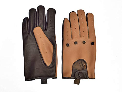 (Men's Two-Tone Unlined Leather Driving Gloves in Tan and Brown (X-Large))