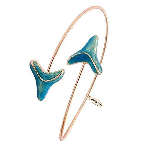 NOUMANDA Double Shark Tooth Wrap Bracelet Arrow Bangle Bracelet Glowing in The Dark (Rose Gold)