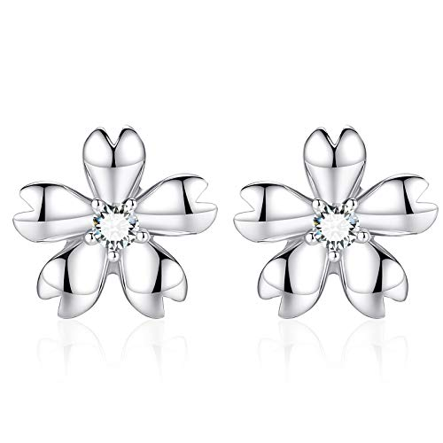 Madeone Hypoallergenic 18K White gold Plating 925 Sterling Silver Rhinestone Flower Cubic Zirconia stud earrings for Women with Box Packing