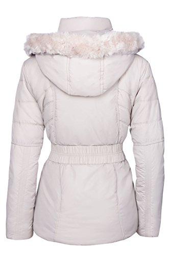 Mujer Chaqueta de invierno acolchado aspecto de plumas con capucha Esquí Chaqueta Abrigo Corto gris claro