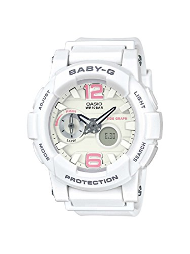 Casio Women's Baby G BGA180BE-7B White Resin Japanese Quartz Diving Watch