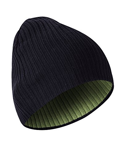 MIER Knit Skull Cap Unisex Reversible Beanie Hat for Men and Women, 9inch, Black/Army Green