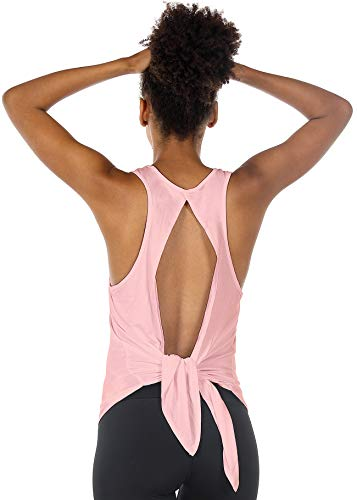 icyzone Open Back Workout Tops for Women - Athletic Activewear Shirts Exercise Yoga Tank Tops (XL, Cameo Pink)