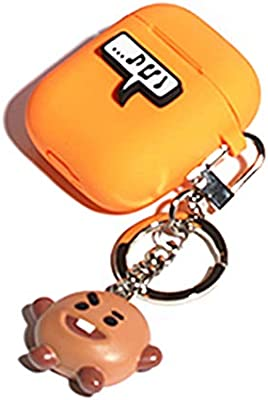 BTS BT21 New Official Merchandise - Apple Airpods Figure Silicone Case with Figure Keyring Keychain Bangtan Boys (SHOOKY)
