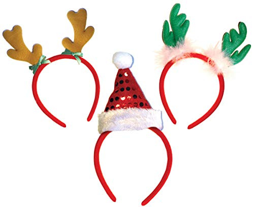 Santa Hat With Antlers (OLYPHAN Headbands for Christmas - Women - Reindeer Antler & Santa Hat Headband Hats - Kids &)