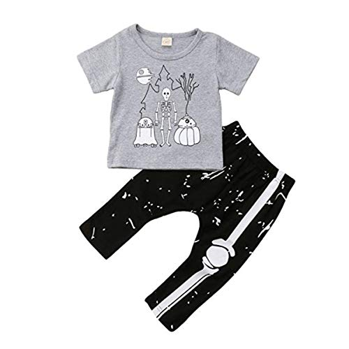Toddler Baby Boy Antumn Clothes Newborn Baby Scary Bone Print T-Shirt Long Pants Clothes Set (Baby Scary Bone Print T-Shirt, 80(6-12 Months))