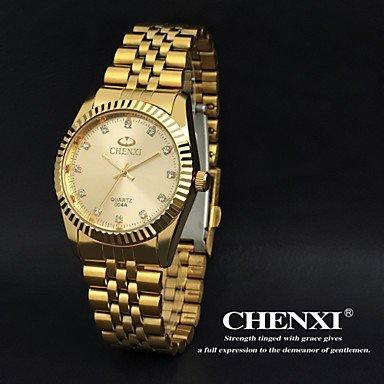 Chenxi goldene Mode Herrenuhr Edelstahl Quarz-Armbanduhr ( Farbe : Gold , Großauswahl : Einheitsgröße )