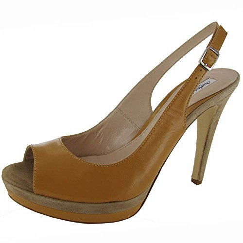 (CHARLES DAVID Womens 'Shelby' Slingback Pumps Shoe, Camel Leather, US 9.5)