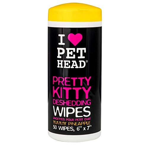 Pet Head Pretty Kitty | Toallas para mantener a raya la caída del pelo de gatos con Deliciosa Piña aroma