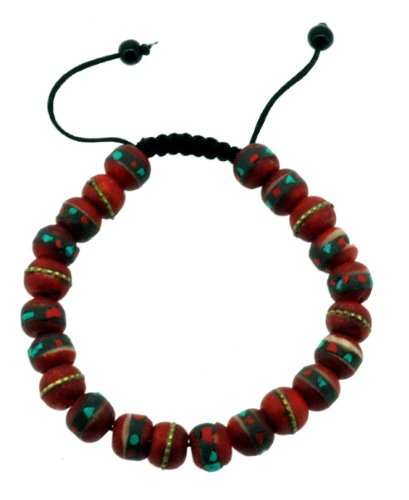 Tibetan 10mm Red Yak Bone Medicine Wrist Mala