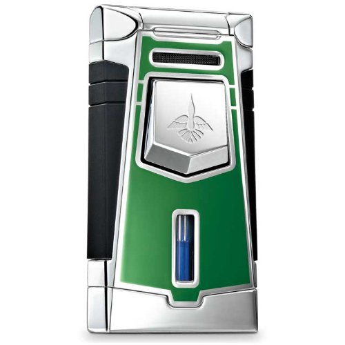 Colibri QTR641005 Empire Wind-Resistant Jet Flame Lighter Push Button Augusta Green