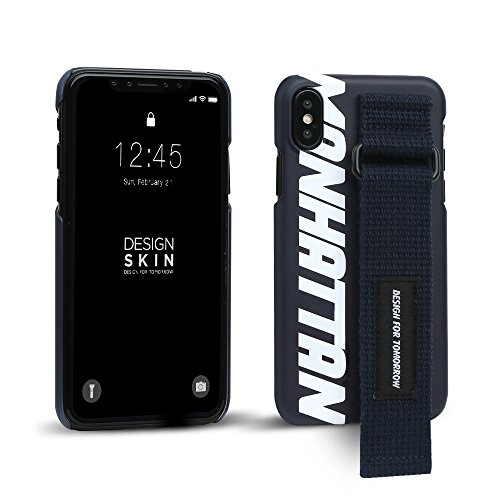 iPhone X Case, DesignSkin [GRAPHIC STRAP] Hand Strap Holder Grip Adjustable Hook/Loop Fastener Band Adhesive Kickstand Unique Street Fashion Style Cover - Navy/Manhattan