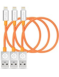 Apple Charger, 3 Pack 25cm F-color™ MFi Heavy Duty Nylon Braided Lightning Data Sync Cable Compact Connector for iPhone 6S 6 Plus 5s 5c 5, iPad 4 Air 2 mini 2 3 4, iPad Pro, iPod touch 5 Orange