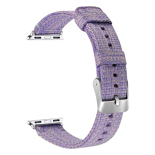 Yaida Replacement Soft Nylon Sport Loop Wrist Band Strap for Apple Watch Series 4 40mm (Purple)