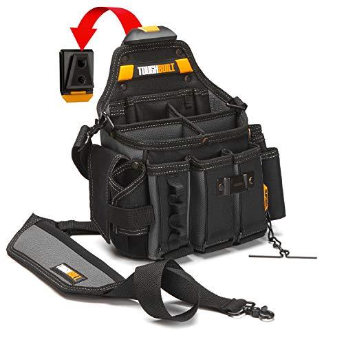 ToughBuilt - Pouch + Shoulder Strap, Adjustable Flashlight Holder, 3 Adjustable Tool Pockets, 25 Pockets and Loops, Tape Measure Clip (Patented ClipTech Hub & Belts) (TB-CT-104)