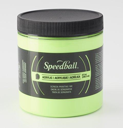 Speedball 1483703 Screen Printing Ink, 8 oz. Capacity, Acrylic, Fluorescent Lime Green Acrylic Screen Printing Ink