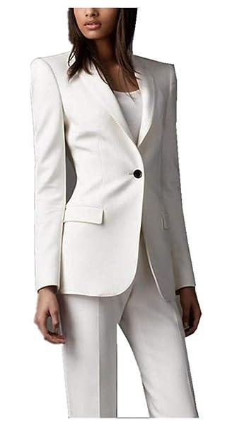 Amazon.com: LIBODU - Traje de mujer blanco con solapa, 2 ...